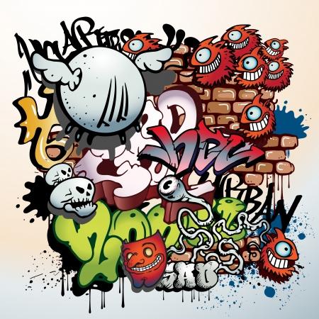 alfabeto graffiti: graffiti urbani d'arte elementi
