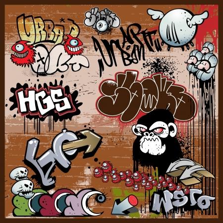 grafitis: graffitis urbanos elementos de arte Vectores
