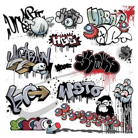 abecedario graffiti: graffitis urbanos elementos de arte Vectores