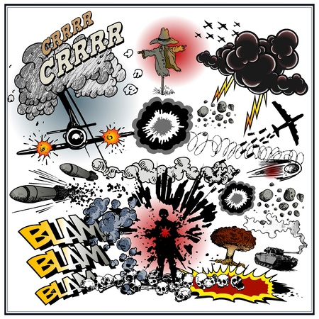 sapper: explosions comic book style