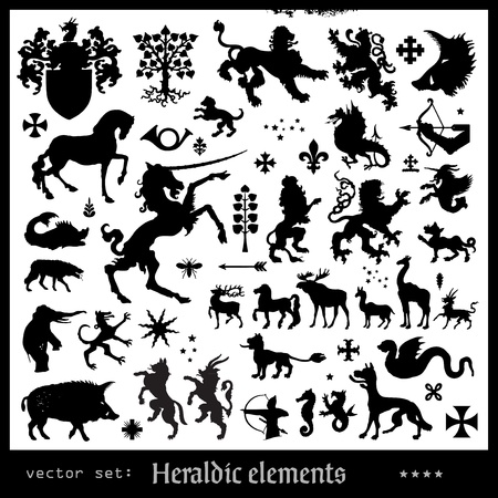 Silhouettes of heraldic elements Illustration