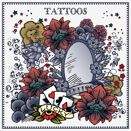 tattoo floral frame Vector