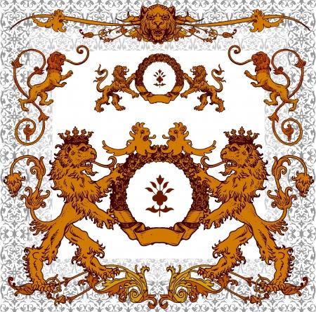 page decoration: heraldische leeuwen, pagina decoratie en ontwerp elementen