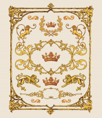 antique and baroque frames, page decoration and design elements 向量圖像