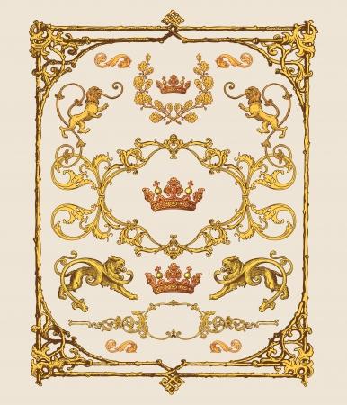 acanto: marcos antiguos y barrocos, decoraci�n de p�gina y elementos de dise�o Vectores