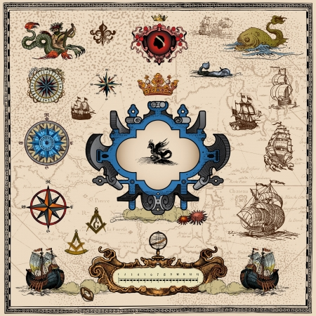 ancient ships: antique map elements Illustration