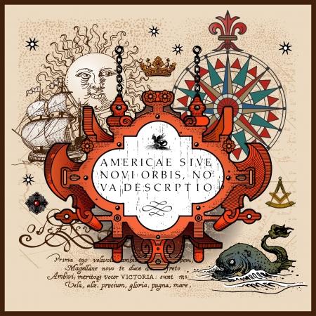 antique map elements Illustration