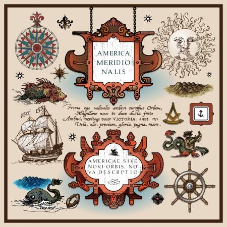 buccaneer: antique map elements Illustration