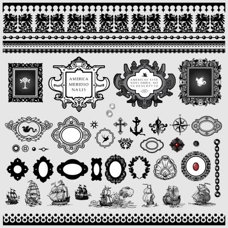 kompas: Mapa starožitné prvky Ilustrace