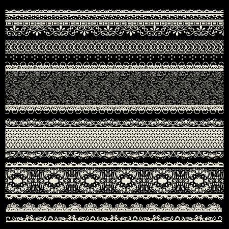 vector set of lace trims Vector