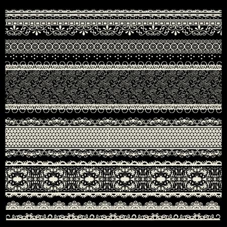 trims: vector set of lace trims