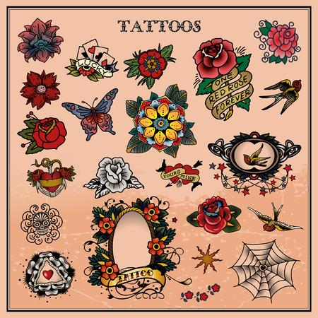 Tetoválás, virágos, virág Illusztráció