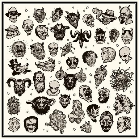 cartoon demon: Fantasy heads