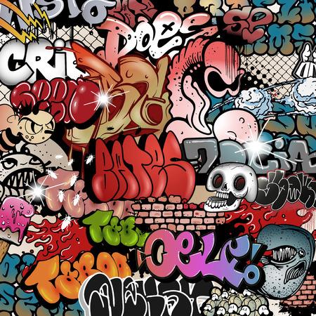 Jednolite wzór graffiti, Ilustracje wektorowe