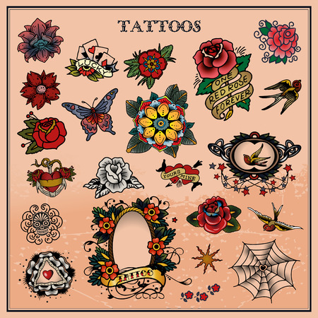 roses and blood: Tattoos, floral, flower Illustration
