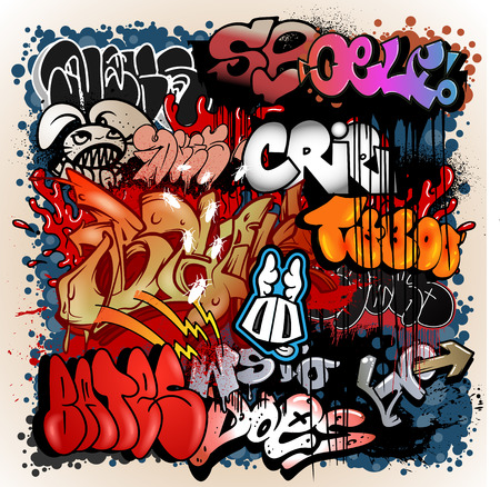 alphabet wallpaper: Graffiti street art background Illustration