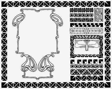 Jugendstil-Ornamente Rahmen Vektorgrafik