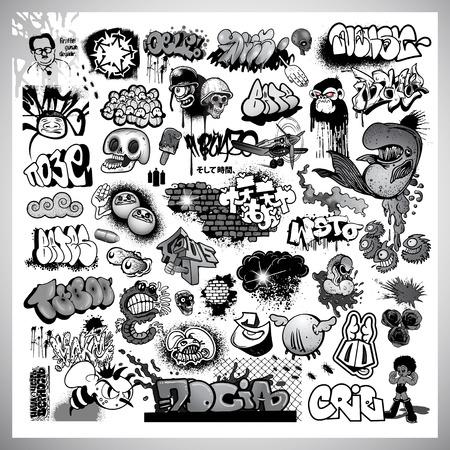 Via elementi graffiti art Vettoriali