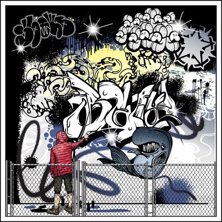 Street art graffiti elements