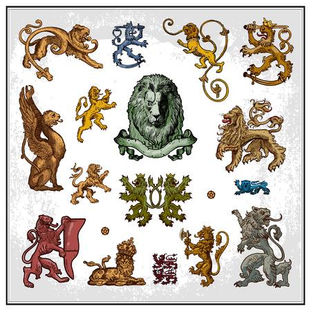 Heraldic lions Illustration