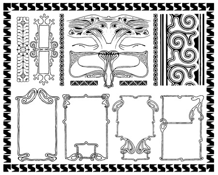 Art Nouveau ornaments frames Vector