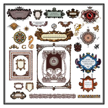 brujula antigua: Antiguos elementos del mapa bordes y marcos Vectores
