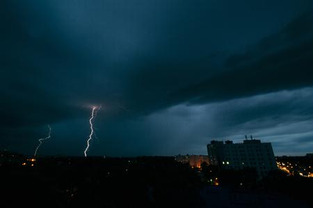 thundershower: Lightning storm in Minsk, thunderstorm in dark skies Stock Photo