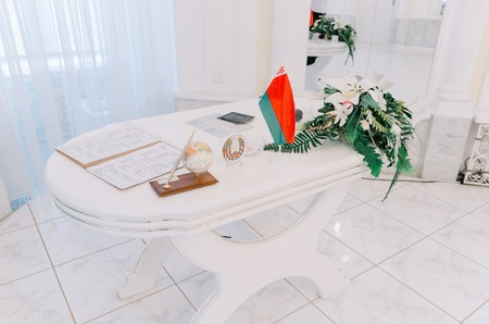 Flag of the Republic of Belarus in the Registry Office.