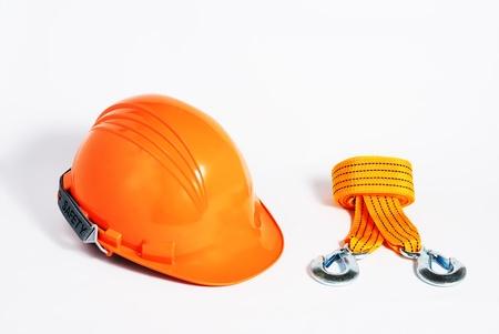 orange helmet with nylon sling