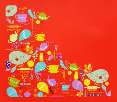Cookie comics on red background Stock Photo