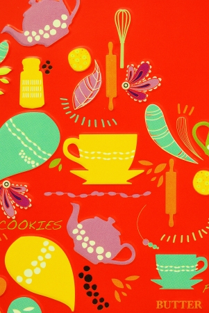 Cup comics on red background Stock Photo