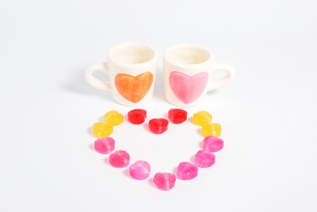 Candy with two cup of love Isolated white Stock Photo - 17415733