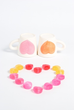 Two cup of love concept Stock Photo