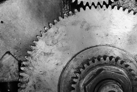 Black and white old gear of lathe machine background photo