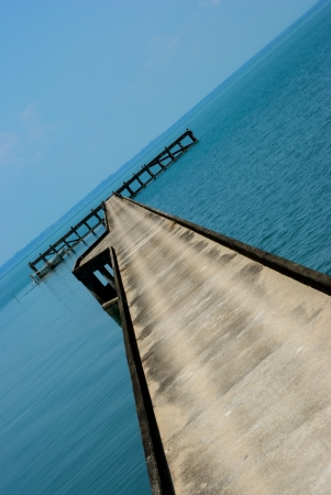 Old bridge to the sea in East of Thailand  KO Chang  Stock Photo