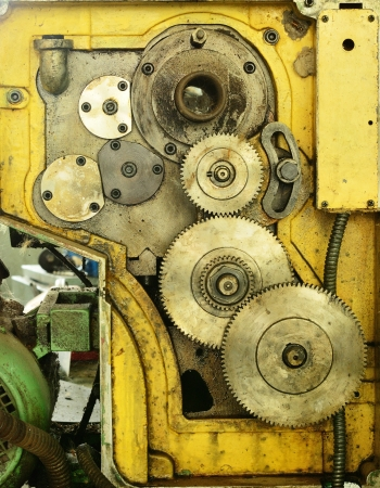 The old gear set of lathe machine