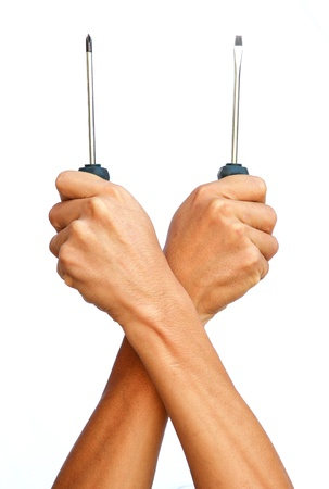 The strong hand hold the both of screw driver