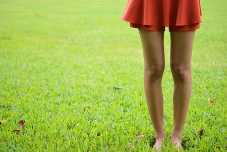 Woman leg stand on the green grass photo