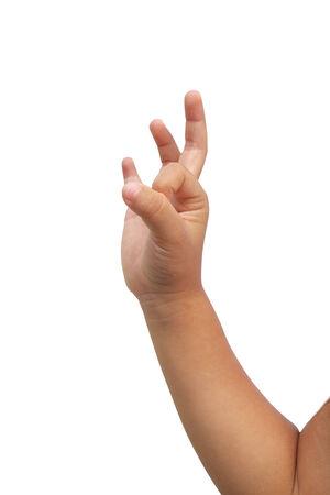 cut wrist: Kid hand make ok symbol on isolated white background Stock Photo
