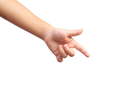 Kid hand shown point symbol on isolated white background photo