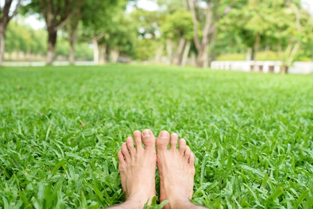 Man feet on green grass background for graphic designer