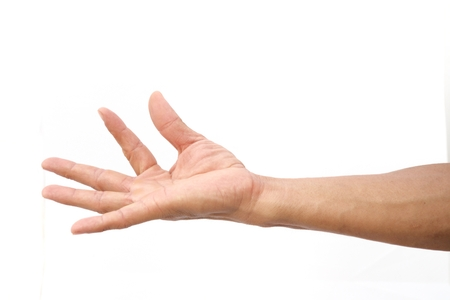 Hand shown catch symbol on isolated white background