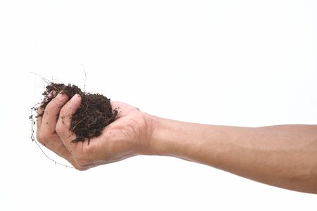 Hand shown soil hold on isolated white background