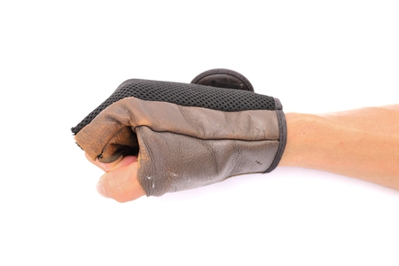 Hand with leather glove action onisolated white Stock Photo