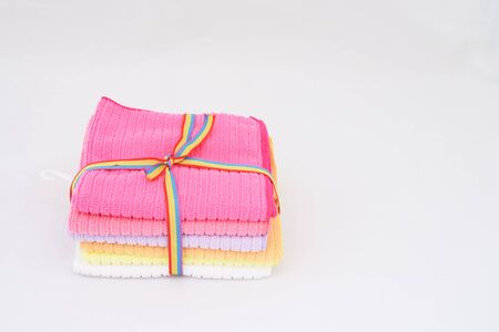 Packaging of small towel on isolated white background