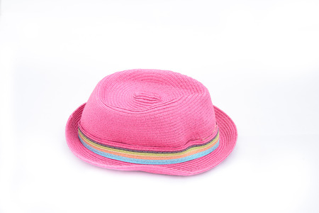 pink hat: Pink hat on isolated white background for graphic designer Stock Photo