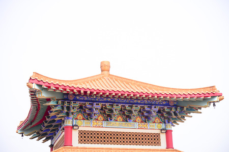 Chinese temple roof on isolated gray background
