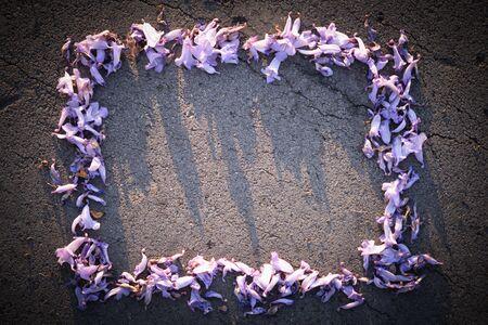 Purple flower frame background Stock Photo