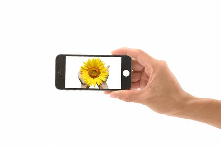 Cellphone with hand on isolated white background