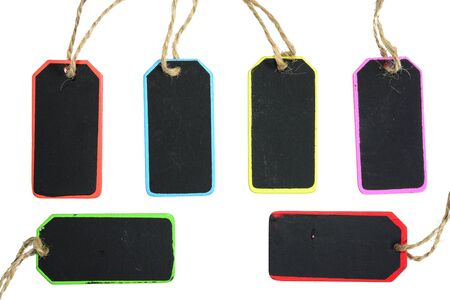 noted: Colorful mini chalk board set for noted on isolated white